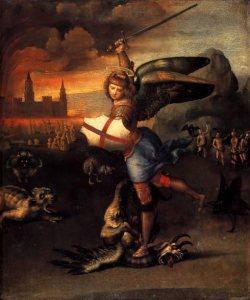 Aartsengel-Michael-verslaat-de-draak-schilderij-van-Raphael
